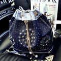 2017 New Fashion Denim Jean Bags Female Jeans Shoulder Bags Unique Cartoon Womens Tote Bags Bolsas Drawstring bucket bag