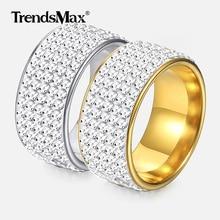 10mm Hip Hop anillo para hombres helado de circón cúbico de oro de plata anillos de compromiso hombre joyería accesorios regalos Dropshipping. exclusivo. GRM09