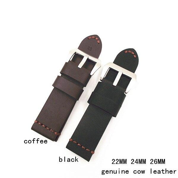 1 PZ cinturini per orologi cinturini in pelle di cavallo Pazzo del cuoio genuino della mucca 22 MM 24 MM 26 MM caffè nero colore-WSC001