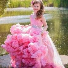 Floor Length Girls Pageant Dresses Pink Flower Girl Dress Cloud 2017