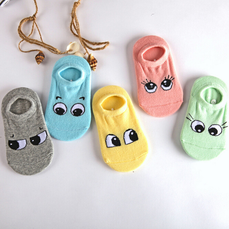 2016 Boys and girls spring and autumn and summer new  style socks cotton socks cartoon eyes slip socks 5 pairs