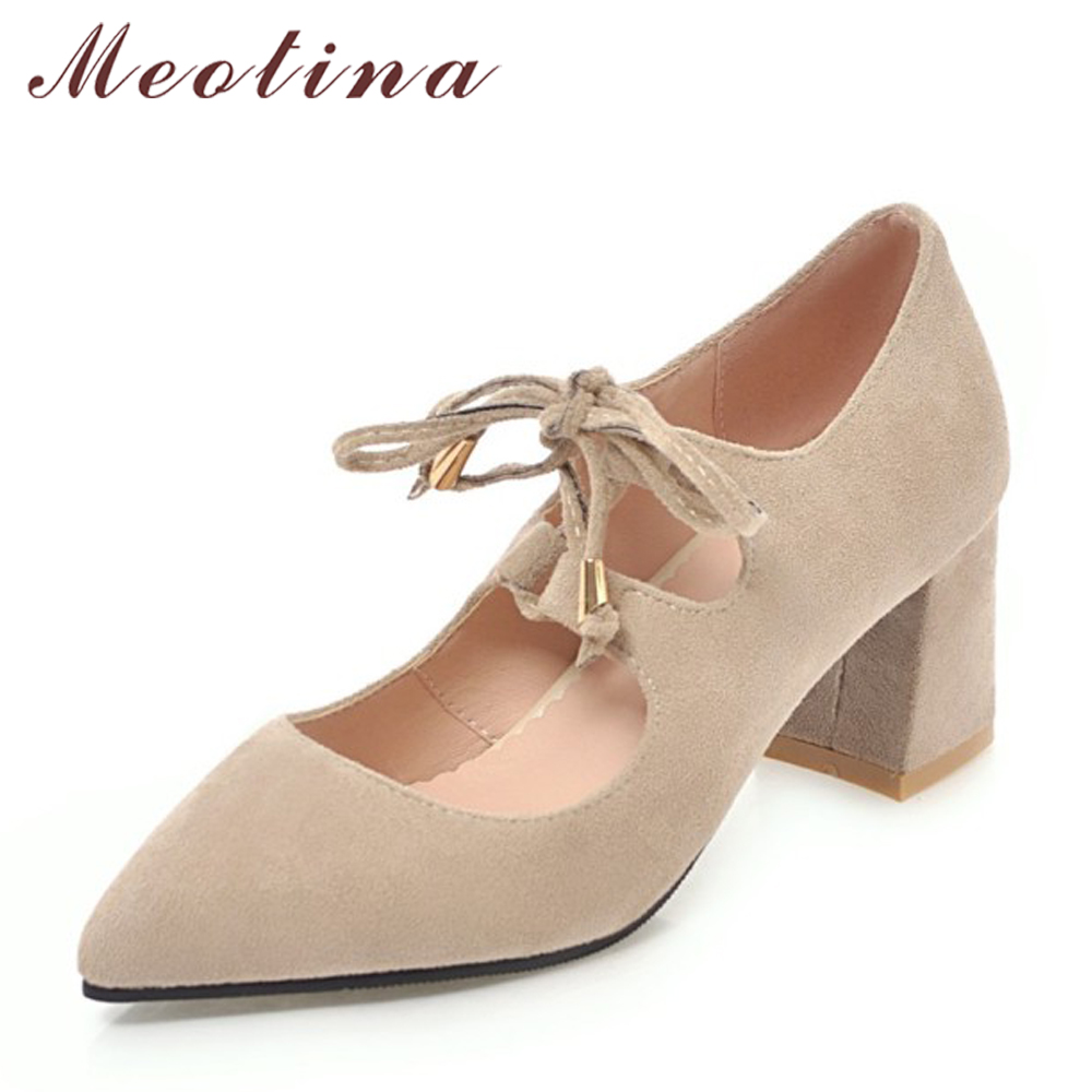 Meotina Women Shoes High Heels Female Pumps Lace Up Thick Heels Pointed Toe Ladies Shoes Bow Spring Shoes Black Big Size 33-45 meotina women wedding shoes 2018 spring platform high heels shoes pumps peep toe bow white slip on sexy shoes ladies size 34 43
