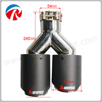 54mm Inlet 89mm Outlet Stainless Steel Car Exhaust Tip Dual Akrapovic Carbon Fiber Exhaust Muffler Tips