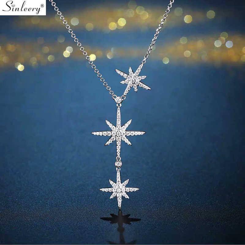 SINLEERY Snowflake Star สร้อยคอผู้หญิง Elegant Rose Gold Silver Inlay Zirconia CHAIN Choker สร้อยคอเครื่องประดับ XL652 SSB
