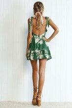 Sleeveless bandage Deep V Neck green backless beach short Dresses