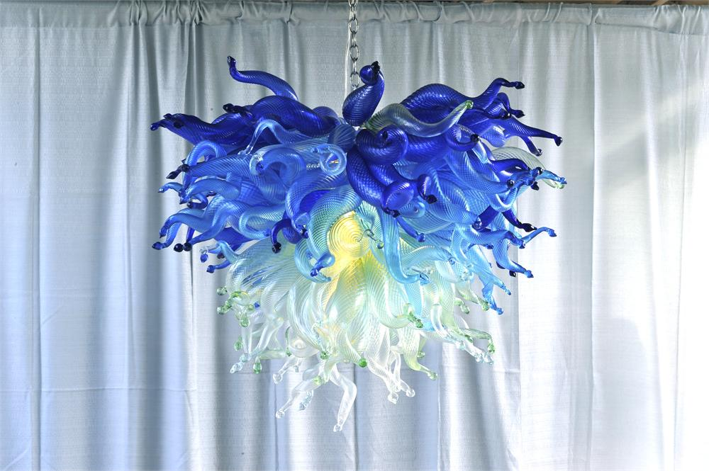Fancy Tuirquoise Green Shade Color LED light Source Chihuly Murano Glass Chandelier Lighting Fixture fancy turquoise blue led murano glass chandelier lightings art store decor