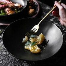 NIMITIME Ceramic Retro Black 9 Inch Shallow Salad Fruit Bowl Snack Pasta Noodle Bowl