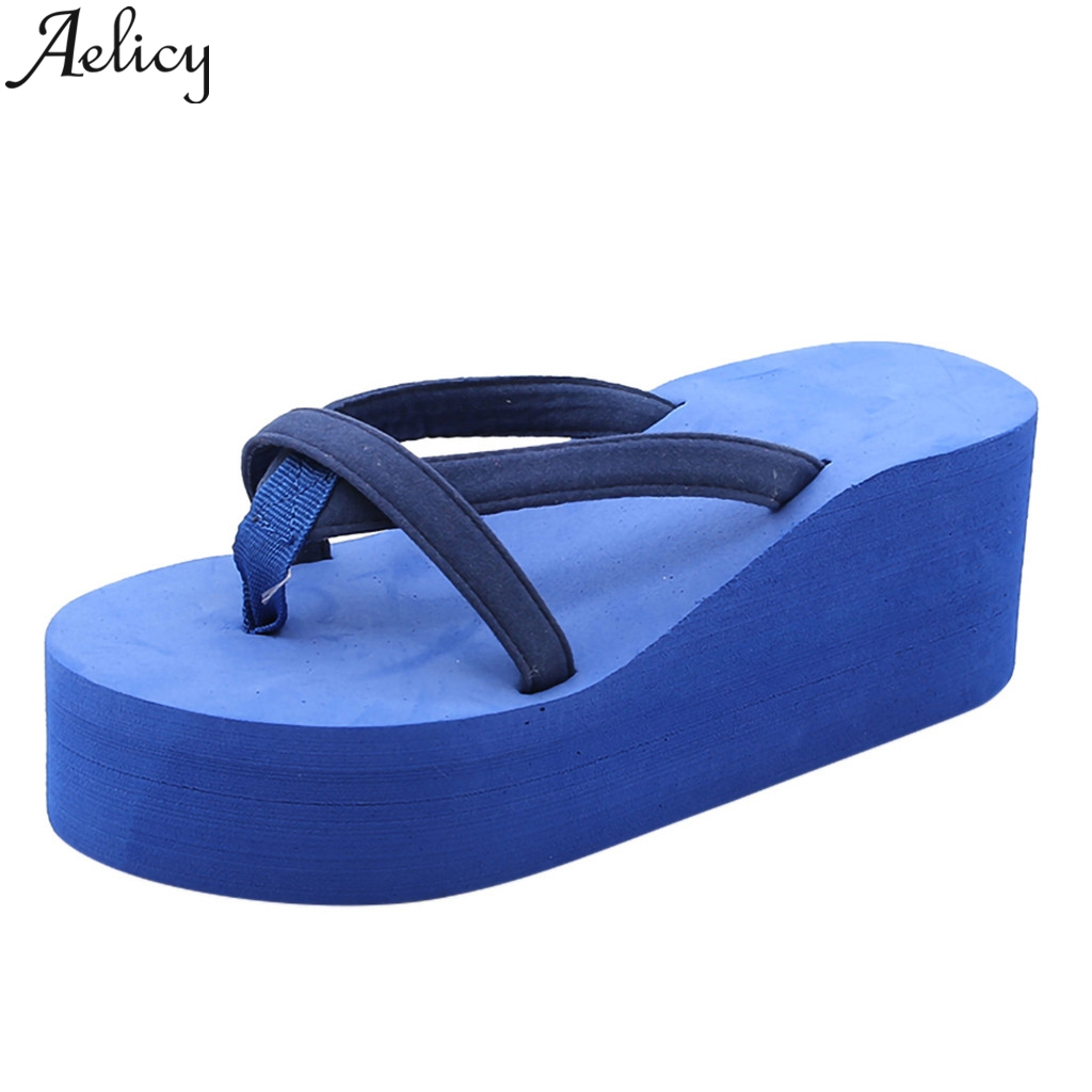 JAYCOSIN High-Heeled Wedge Flip-Flops Womens Solid Color Beach With Thick-Legged Sandals EVA Injection Shoes Slip On SlippersJAYCOSIN High-Heeled Wedge Flip-Flops Womens Solid Color Beach With Thick-Legged Sandals EVA Injection Shoes Slip On Slippers