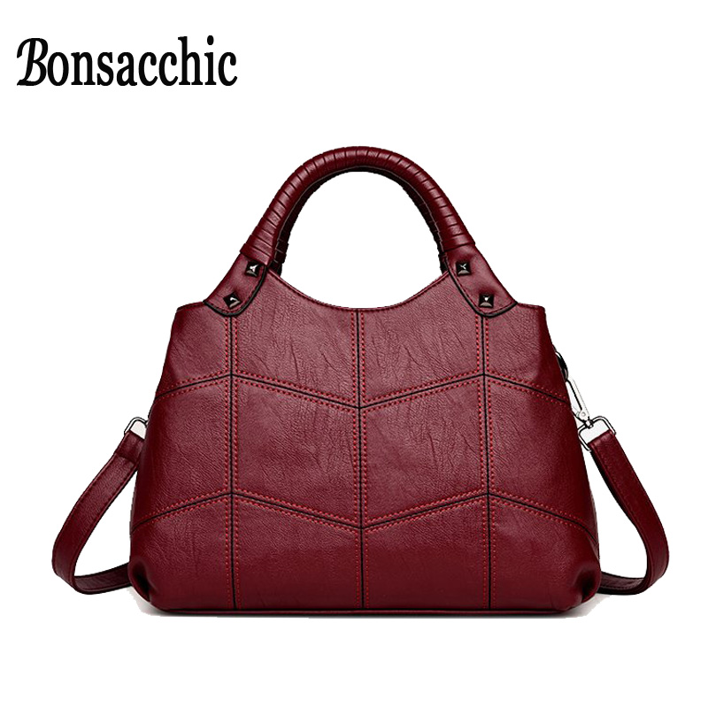 Bonsacchic Artificial Leather Bags Women Handbags Small Women's Bags Female Shoulder Bags for Women 2018 Totes Ladies' Handbag