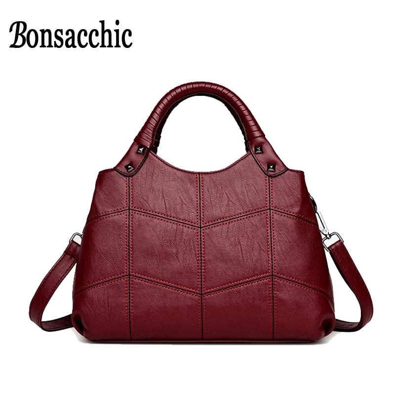 Bonsacchic Artificial Leather Bags Women Handbags Small Women's Bags Female Shoulder Bags for Women 2018 Totes Ladies' Handbag