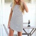 Plus size nuevo estilo 2017 del verano mujeres beach dress o cuello flojo ocasional dress de manga corta a rayas mini vestidos vestidos