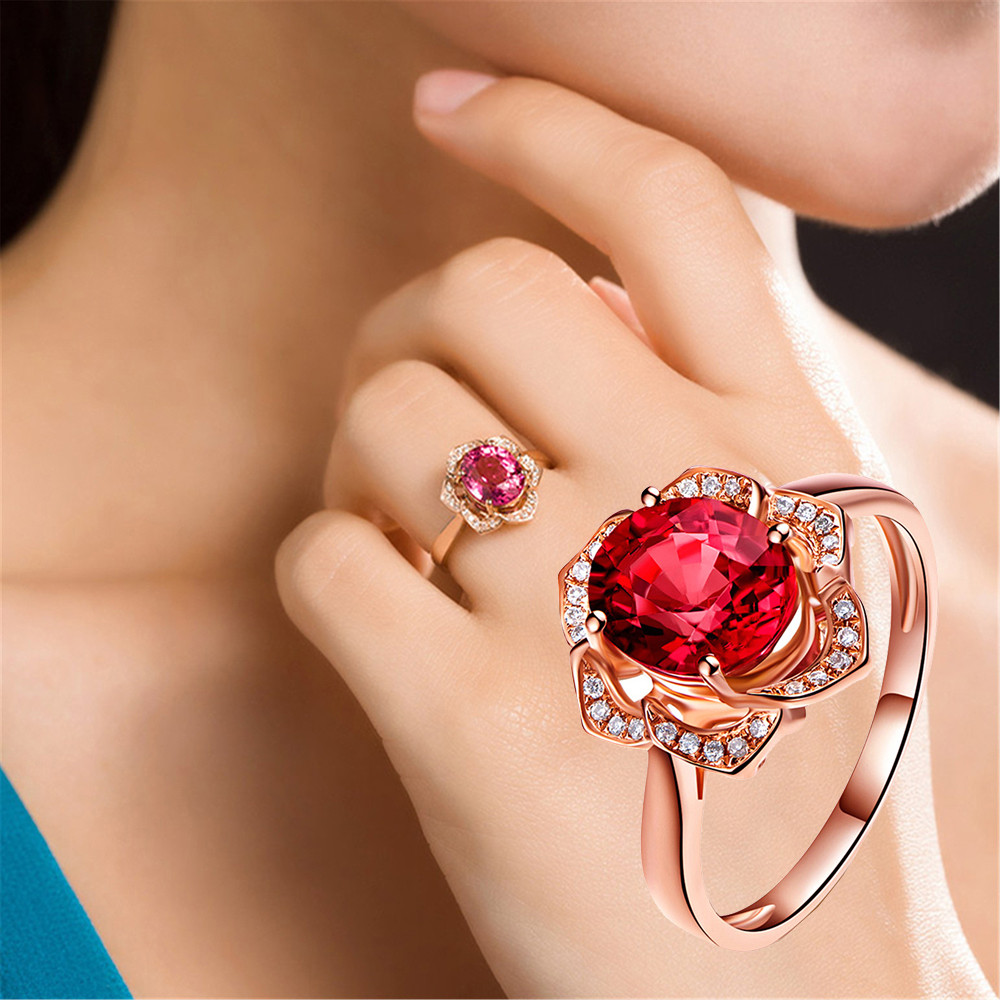 2019 New Fashion Crystal Rhinestone Flower Wedding Rings For Women Jewelry Accessories Rose Gold Engagement Ring Bague Femme