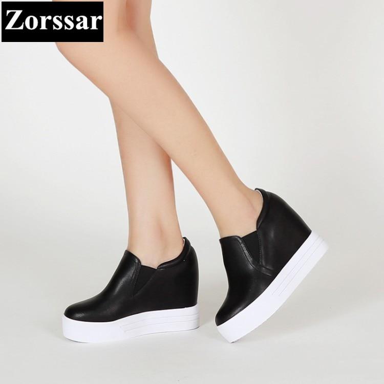 Marcas Moda La Bombas Mujer Casuales Negro Alto Altura De Aumento Plataforma Tacón {zorssar} Cuña Mujeres 2017 Señoras Las blanco Zapatos pYp1qd