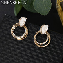 Luxury Rhinestone Inlaid Gold Color Metal Loops Drop Earrings Double Circles Pendant Dangle Earrings Women Party Jewelry 2019(China)