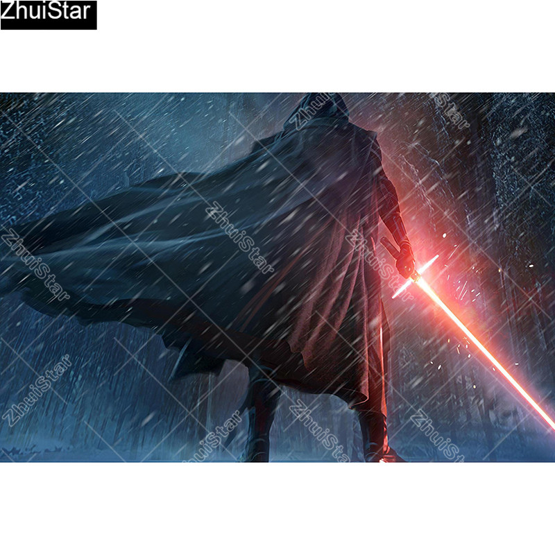Full Square/5D DIY Diamond Painting Lightsaber Warrior Embroidery Cross Stitch Mosaic Home Decor Gift CJ5