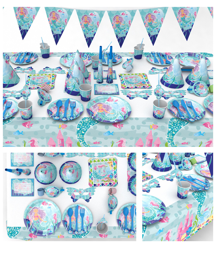 84pcs/set Mermaid Princess Kids Birthday Party Decoration Party Supplies Shower Wedding Pack Event Supplies Cups Plates Forks