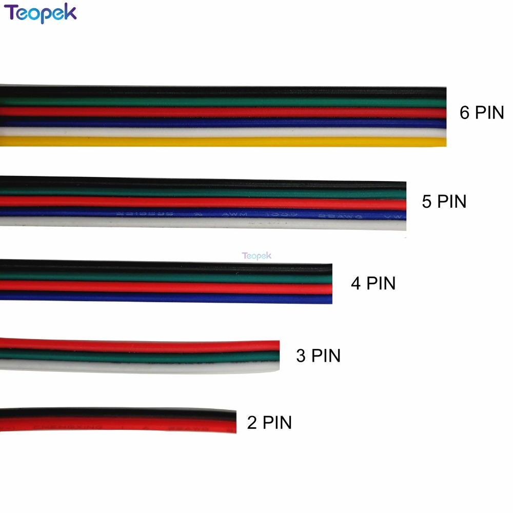 2pin 3pin 4pin 5pin 6pin Extension Wire Cable 22AWG Led Connector For WS2812 WS2811 RGB RGBW RGB CCT 5050 3528 LED Strip