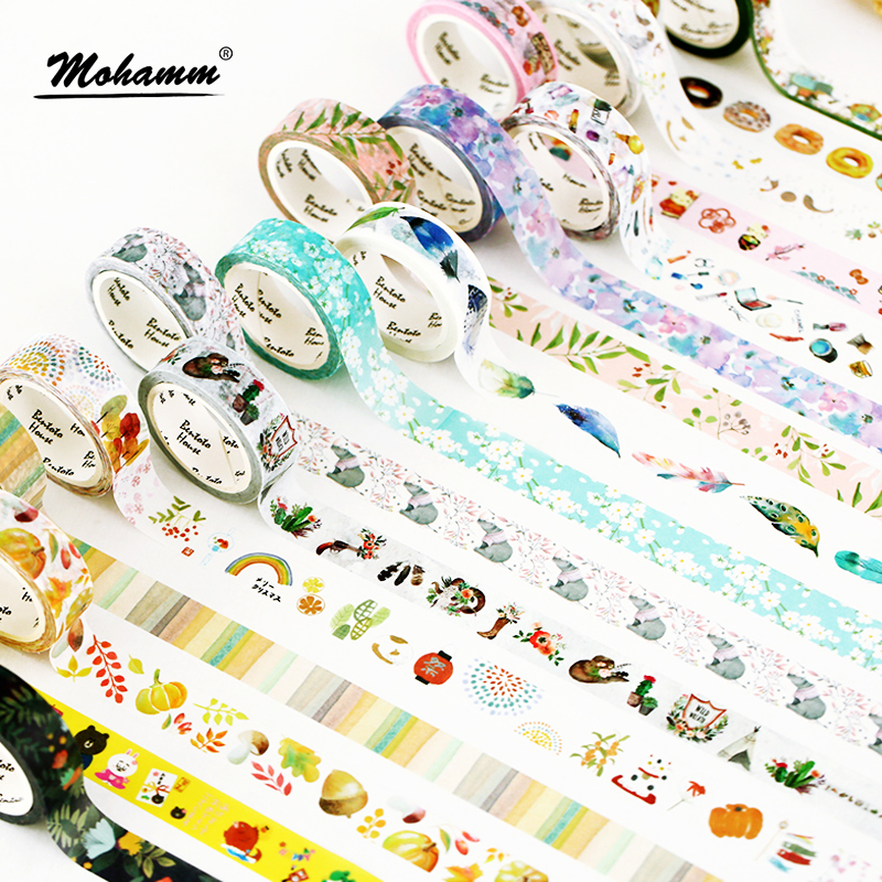 15mm X 7m Cute Lotkawaii Flower food animals  Decorative Washi Tape DIY Scrapbooking Masking Tape School Office Supply 1 5cm 7m flowers fox steamer mushroom decorative washi tape scotch diy scrapbooking masking craft tape school office supply
