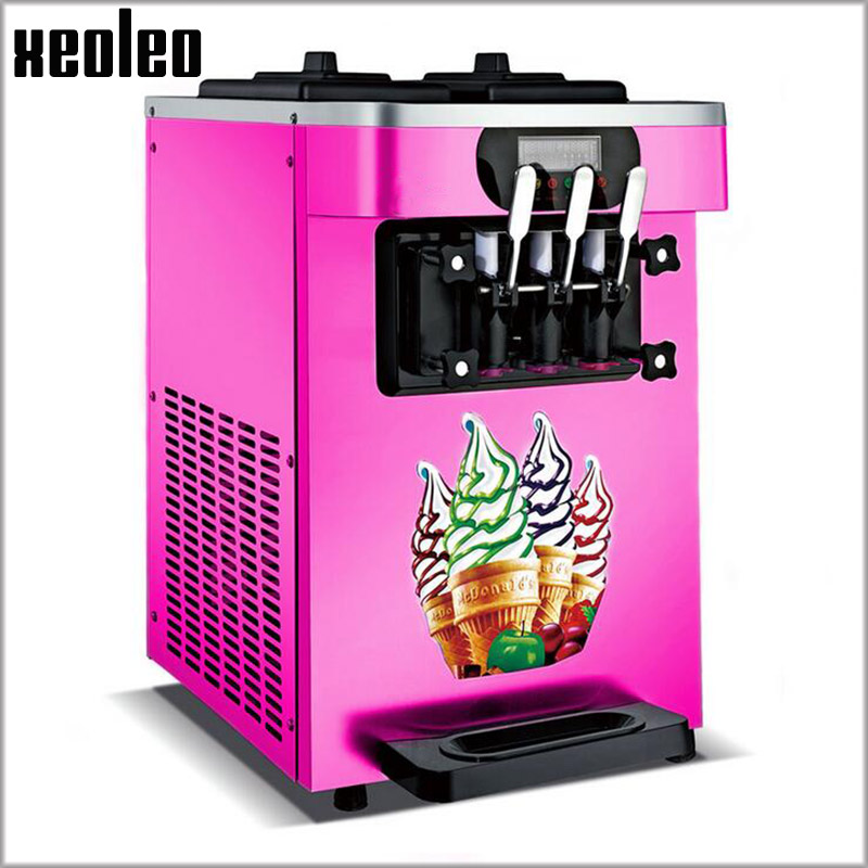 Xeoleo Soft Ice cream machine Commerical 3 Flavors Ice cream maker 18-22L/H 1600W Yogurt Ice cream 220V/110V Pink R22 dd001498 dark green mixed long straight cosplay wig a mesh cap