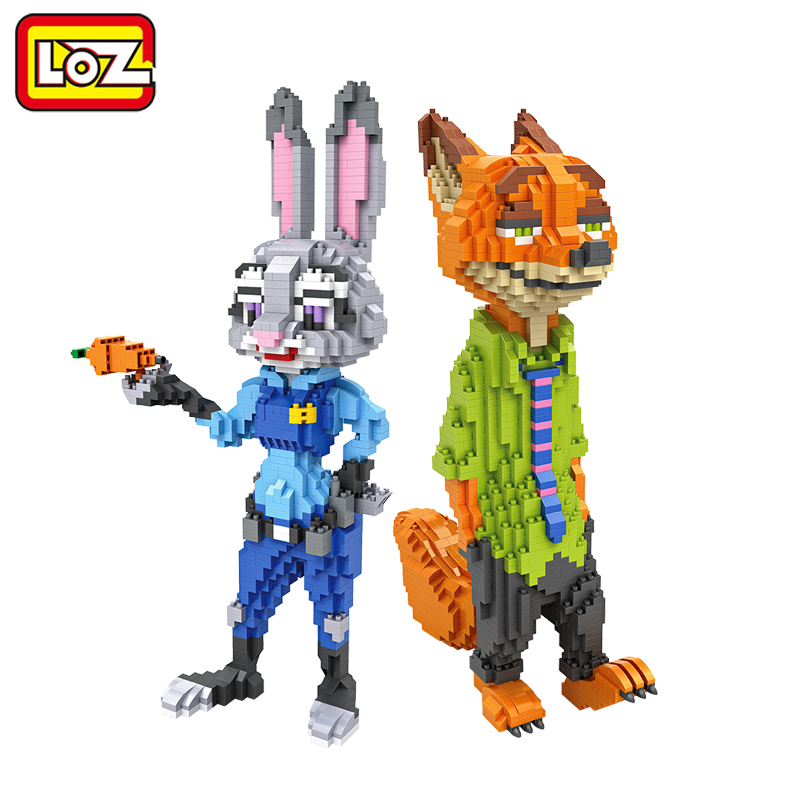 LOZ Zootopia Nick Fox Judy Rabbit Animals Mini Building 26 cm Diamond Blocks Action Figure Toy For Age 6+ Offical Authorized mini qute full set 2 pcs lot hc zootopia huge nick wilde judy hopps plastic building block cartoon model educational toy no 9011