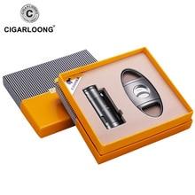 COHIBA Windproof 3 Torch Jet Blue Flame Butane Gas Metal Cigar Lighter with Cigar Cutter Gift Set CQ-0114