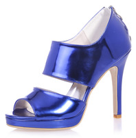 Only one pair Sparkling patent leather grossy wide band woman sandals metallic blue summer shoes platform stiletto party prom