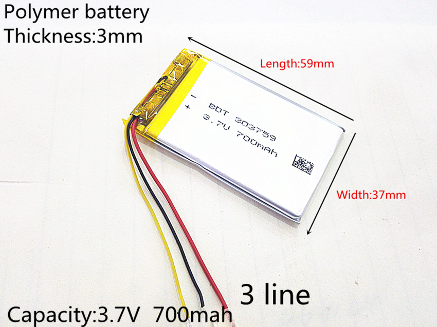 3 line Liter energy battery 3.7V lithium polymer battery 700mAh tachograph general elect ...