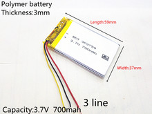 3 line Liter energy battery 3.7V lithium polymer battery 700mAh tachograph general electric core GPS navigator 303759
