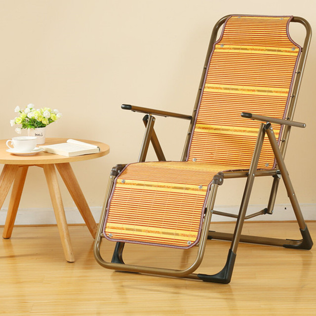 Bamboo Folding Chair Grey Cushions Cool Old Recliner Chairs Office Lunch Nap Beach Outdoor Lazy Pregnant Women