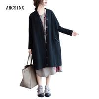 ARCSINX Autumn Long Jacket Women Plus Size 5XL Casual Fall Oversize Women's Jacket Black Female Coat Coats And Jackets Women