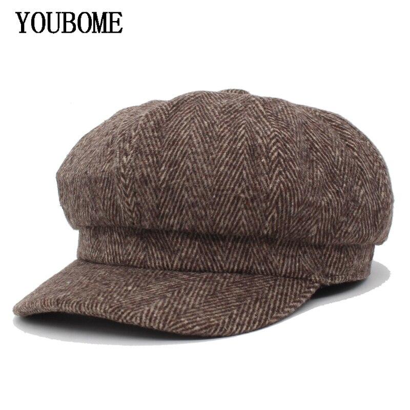 YOUBOME New Fashion Women Octagonal Hats For Women Gorras Planas Newsboy Snapback Caps Female Casquette Winter Octagonal Cap