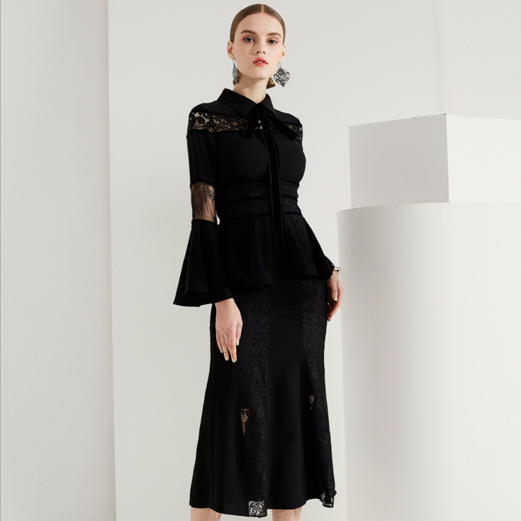 Здесь продается  Women flare sleeve hollow out lace dress slim elegant work party black spring club midi trumept dresses vestido E7920  Одежда и аксессуары