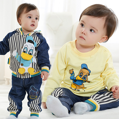 ФОТО Anlencool 2017 free Shipping Brand Children's Clothes Suit Donald Baby Male Clothing Set New Spring Three-piece baby clothing