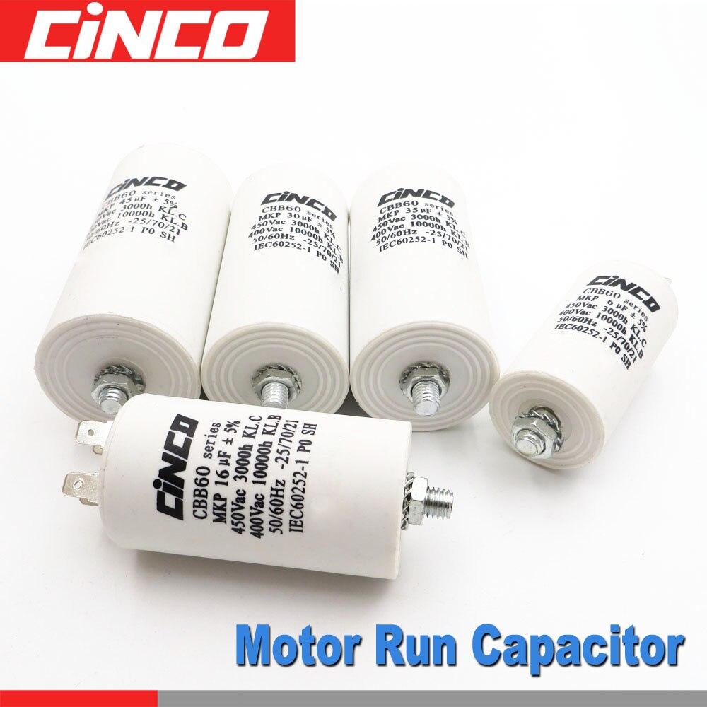 Condensateurs de moteur 150 100 80 60 55 50 45 40 35 30 25 20 18 16 15 12 10 8 7 6 5 uf 400 450 V CBB60 450VAC mf mfd Volts