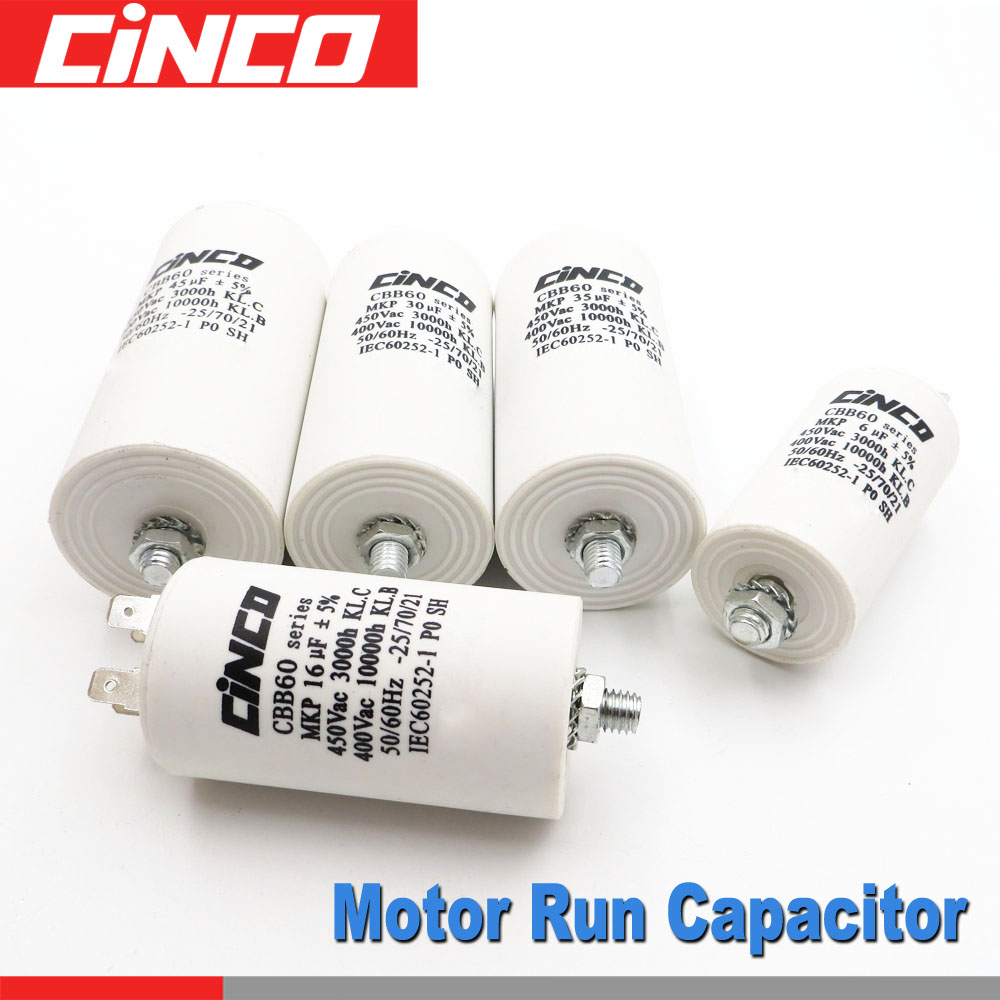 Motor Run Capacitors 40 35 30 25 20 18 16 15 14 12 10 8 7 6 5 4.5 4 3.5 3 2.5 2 1.5 1 Uf 400 450 V CBB60 450VAC Mf Mfd Volt