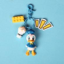 High Quality 2019 New 3D Cartoon Mickey Minnie Figure Keychain Set Donald Duck Daisy Tinker Bell Building Blocks Educational