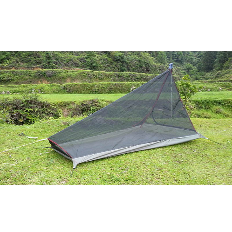 600G Ultralight Outdoor camping tent with mosquito net Summer 1-2 people Single tents travel without any poles bottom army green image