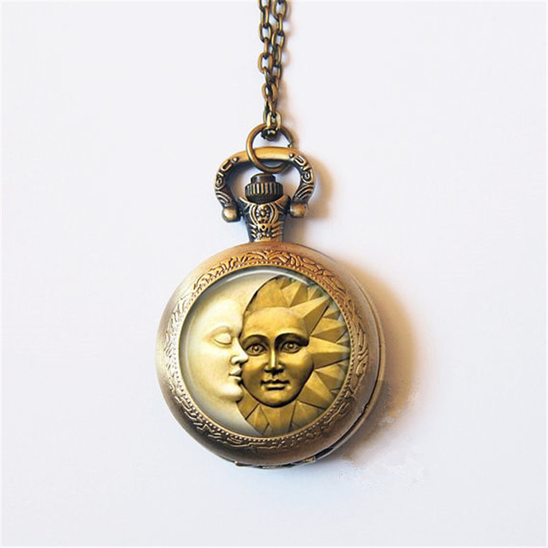 2019 New Arrival Sun And Moon Pocket Watch Necklace Nebula Gothic Mens Womens Glass Cabochon Jewelry