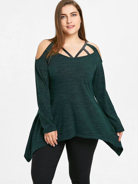 Lortalen Vrouwen Plus Size T-shirt V-hals Lange Mouwen Asymmetrische Caged Gladiatorschoen Dames Tops Casual Winter T-Shirt Kleding 5XL