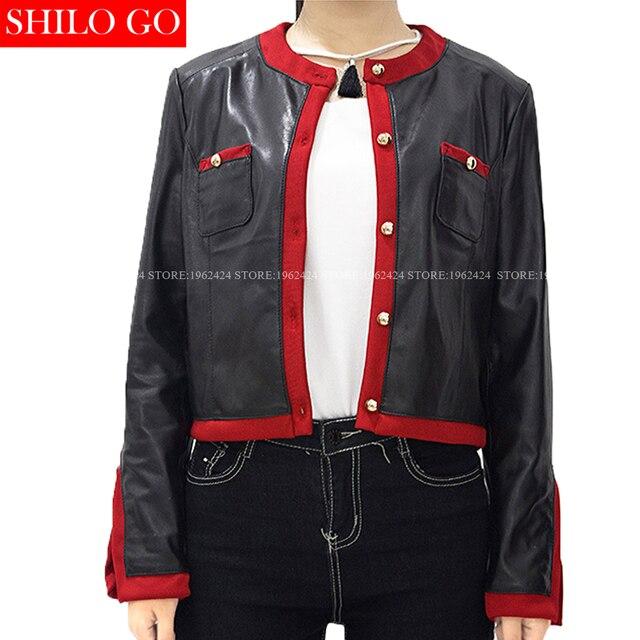Новых женщин способа высокого качества Красные полосы золото квадратная кнопка карман шею хит цвет длинным рукавом овчины кожаная куртка