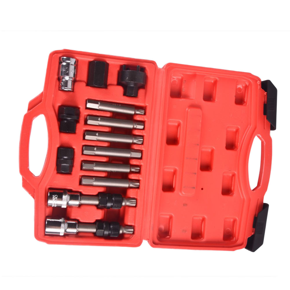 Pack of 13 Convenient Practical Durable Car Generator Belt Pulley Removal Tool Kit Set For Car convenient pack 15pcs telecommuniction tool 6150 cr v steel forged tools