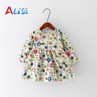 Baby Girl Dress Cotton Infant Dress Floral Print European Style Vintage Long Sleeve Toddler Dress Birthday