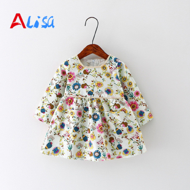 Baby Girl Dress Cotton Infant Dress Floral Print European Style Vintage Long Sleeve Toddler Dress Birthday