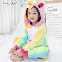 Multicolor Kid Kigurumi Unicorn Onesie Pajamas Suit For Girl Boy Children Lovely Cartoon Warm Sleep Wear