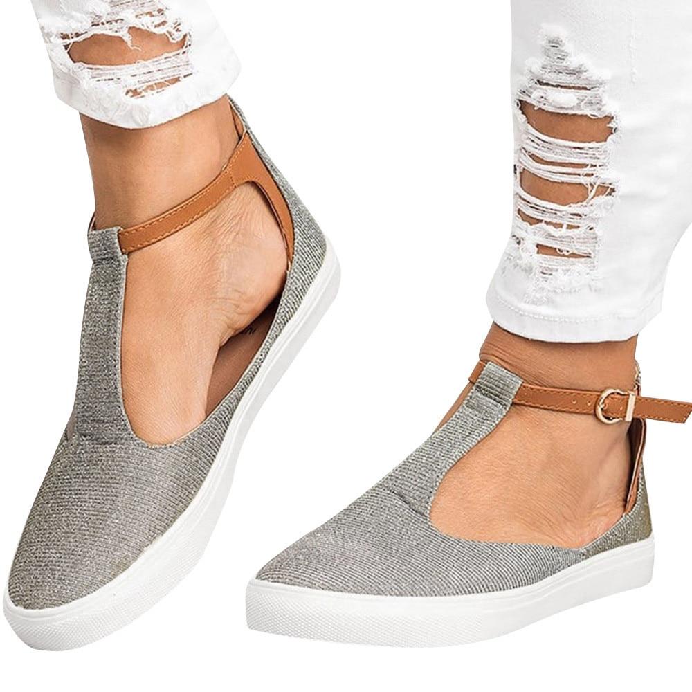 b7082b26152 Plataforma Oro Punta Redonda Plateauzolen gris Hebilla 35 Vintage Plano  Correa Youyedian Zapatos Mujeres Talón Casual ...