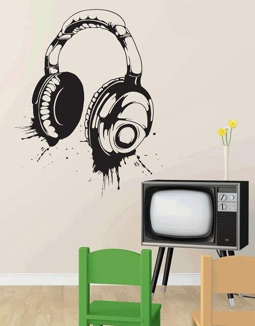 헤드폰 벽 데칼 비닐 벽 데칼 분리형 포스터 홈 아트 디자인 장식 2yy4