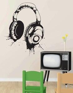Image 1 - Calcomanías de vinilo para pared con auriculares, póster desmontable, decoración de arte para el hogar, 2YY4