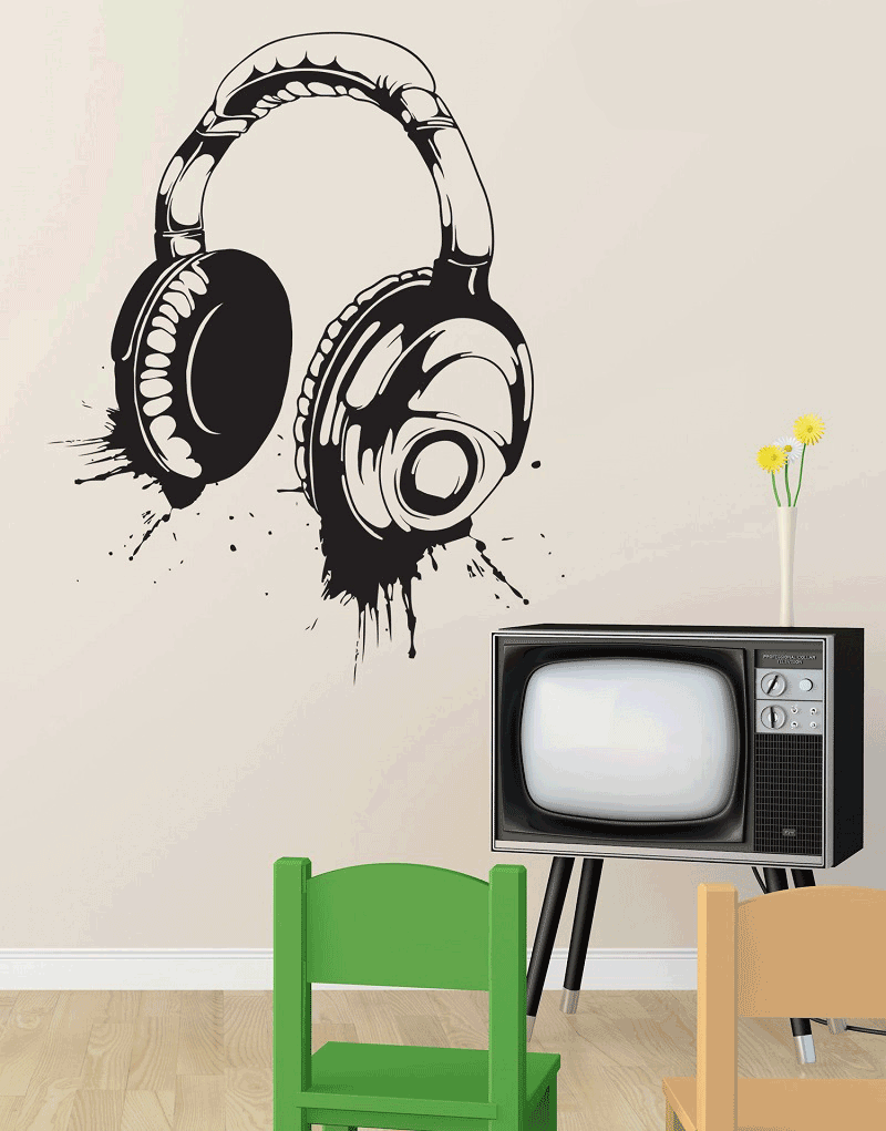 Headphone wall decals vinyl wall decal detachable poster home art design decoration 2YY4-in Wall Stickers from Home & Garden
