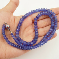 Lii Ji Natural Tanzanite Flat Round Shape Faceted beads 3x5mm 6x9mm DIY Jewelry Making Necklace Bracelet 48cm