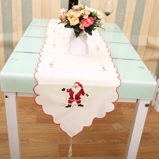 4 Colors Polyester Christmas Table Runner Home Party Banquet Cloth Cover Xmas Tablecloth Placemat Place Mat Decoration